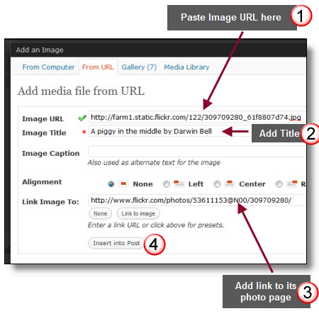 Adding an image from Flickr to a post