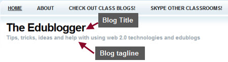 Example of a blog title and tagline