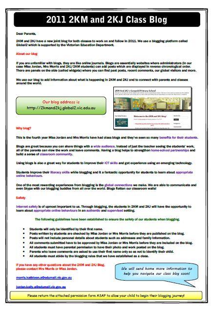 Blog information handout