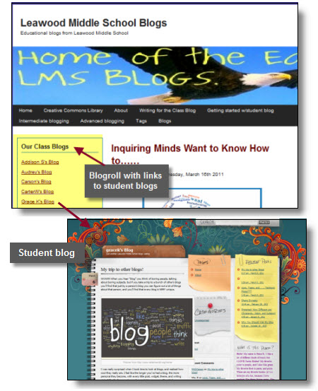Blog roll on a class blog