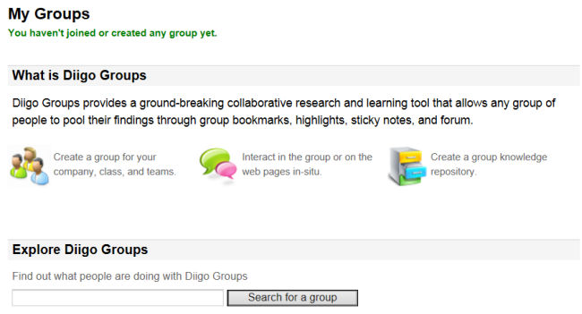 The power of Diigo lies within the groups feature. A user can create both public and private groups for professional development purposes or perhaps a graduate class, study group, or classroom research project. Anyone with access to a group, has access to all bookmarks, plus special features like tagging and commenting on links.