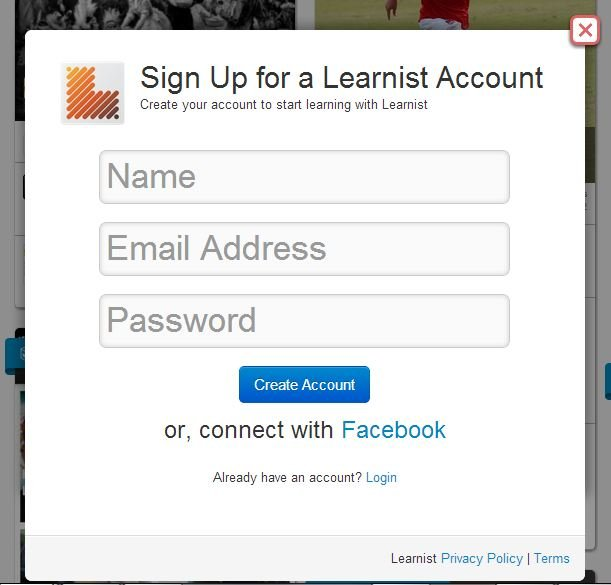 A Screenshot Of The Learni.st Sign Up.