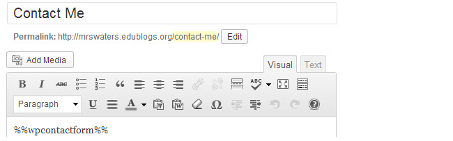 Paste the contact form code