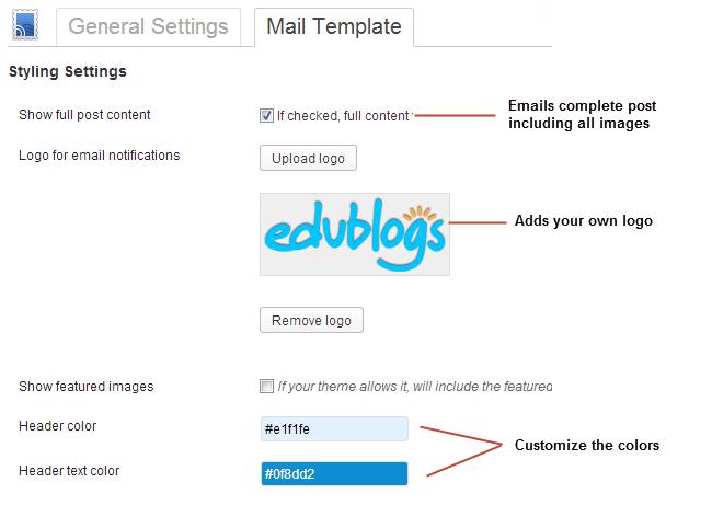 Customizing the email