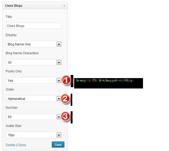 Class blog widget