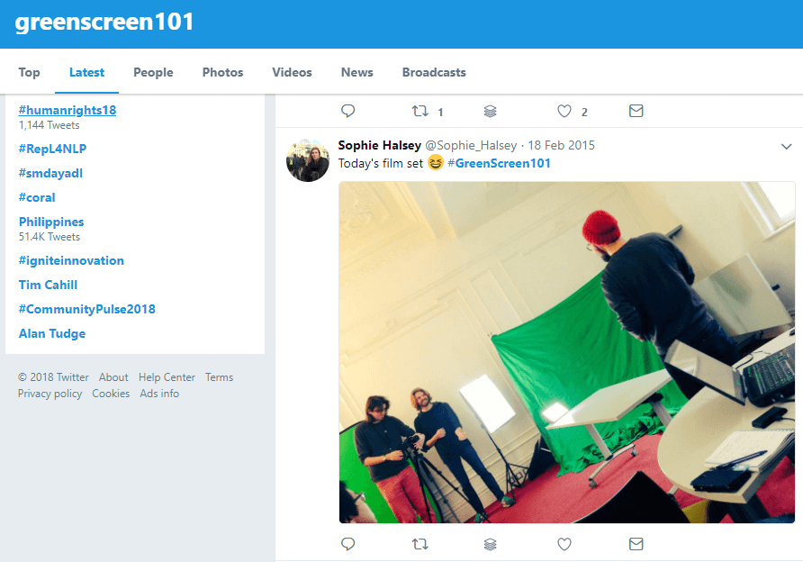 Twitter search for #greenscreen101 Edublogs